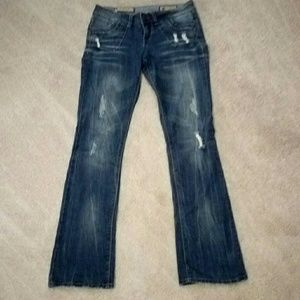 Vanilla Star Sz 7 LONG Boot Cut Distressed Jeans